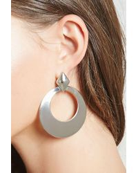 FOREVER21 - Oversized Drop-hoop Earrings - Lyst