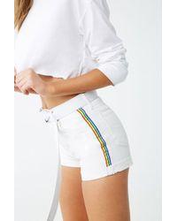4c102db33c Rainbow-trim Denim Shorts , White/red