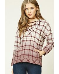 Forever 21 - Check Flannel Lace-up Hoodie - Lyst