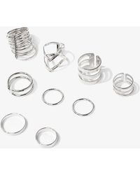 Forever 21 Geo-cutout & Midi Ring Set , Silver