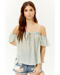 Forever 21 - Ruffle Open-shoulder Top - Lyst
