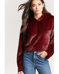 Forever 21 - Faux Fur Cropped Hoodie - Lyst