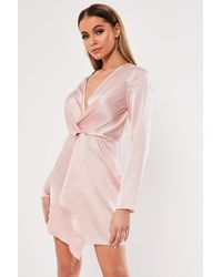 Missguided - Plunging Satin Dress At , Rose - Lyst