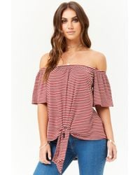 4019d928a89 Forever 21 - Striped Off-the-shoulder Top - Lyst