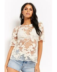 Forever 21 - Sheer Floral Embroidered Top - Lyst