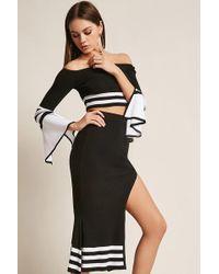 Forever 21 - Contrast Stripe Crop Top & Midi Skirt Set - Lyst