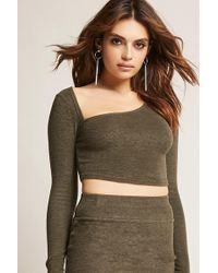 Forever 21 - Marled Asymmetrical Crop Top - Lyst