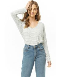 fc3a20835cd36 Lyst - Forever 21 Striped Mock Neck Top