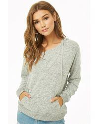 76b6cdfbcef45 Lyst - Forever 21 Mock Wrap Sweater-knit Top in Metallic