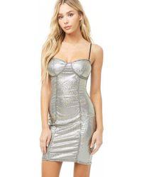 Forever 21 Metallic Striped Bodycon Mini Dress , Silver