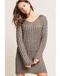 Forever 21 - Hooded Cable Open-knit Jumper - Lyst