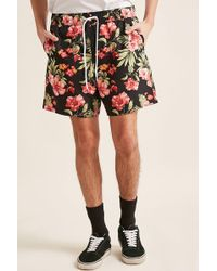 Forever 21 | Tropical Floral Print Swim Trunks | Lyst
