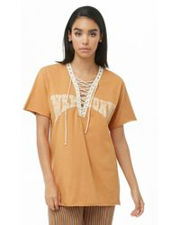 ab9869d7ff6 Lyst - Forever 21 Corset Grommet Tee in White