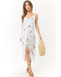 Forever 21 - Floral Button-front Cutout Cami Midi Dress - Lyst