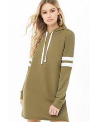 409ff0a6b84 Forever 21 - Women s Varsity Hooded Sweatshirt Dress - Lyst