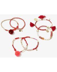 Forever 21 Beaded Bracelet Set , Red