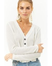 Forever 21 - Cropped Button-front Cardigan - Lyst