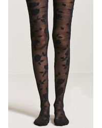 Forever 21 - Semi-sheer Floral & Baroque-inspired Tights - Lyst