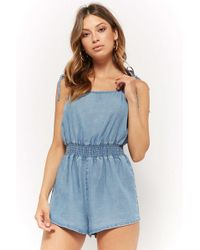 b8173e013770 Forever 21 Chambray Cami Romper in Blue - Lyst