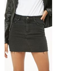 Forever 21 - Raw-cut Denim Mini Skirt - Lyst