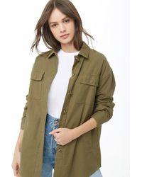 79f1d8fef431af Forever 21 - Women s Solid Utility Jacket - Lyst