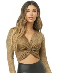 Forever 21 - Metallic Twist-front Crop Top - Lyst