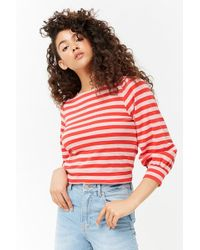Forever 21 - Striped Balloon-sleeve Top - Lyst