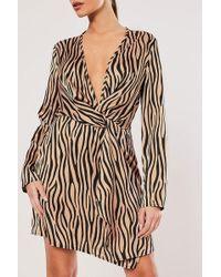 Missguided - Zebra Print Dress At , Brown/multi - Lyst