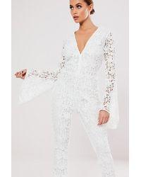 Missguided - Crochet Lace Jumpsuit At - Lyst