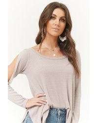 Forever 21 - Waffle Knit Dolphin-hem Top - Lyst