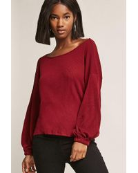 FOREVER21 - Ribbed Balloon-sleeve Top - Lyst