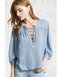 Forever 21 - Lace-up Woven Top - Lyst