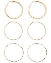 Forever 21 Assorted Oversized Hoop Earring Set , Gold - Metallic