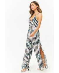 9e30cfdccb671c Lyst - Forever 21 Palm Leaf-print Open-shoulder Jumpsuit in Green