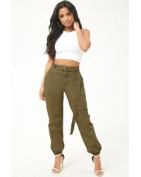 dc2cd653070 Forever 21 Plus Size Cargo Joggers in Black - Lyst