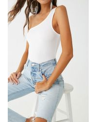 cafd075b47d2d Lyst - Forever 21 One-shoulder Cutout Crop Top in White