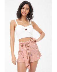 Forever 21 - Floral Belted Shorts - Lyst