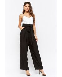 Forever 21 - Combo Paperbag Wide-leg Jumpsuit - Lyst