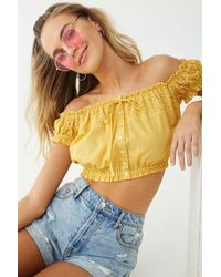 13768a58c87 Lyst - Forever 21 Ruffle Lace-panel Top in White