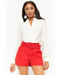 Forever 21 - Belted High-waist Shorts - Lyst