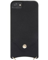Forever 21 Faux Leather Phone Case W/ Strap For Iphone 6/7/8 , Black/gold