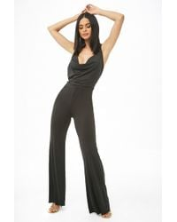 208adfe4fb1 Forever 21 Surplice Woven Jumpsuit in Black - Lyst