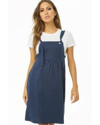 Forever 21 - Linen-blend Pinafore Dress - Lyst