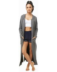Forever 21 - Hooded Open-front Robe - Lyst