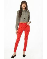 Forever 21 - Women's Mickey Mouse Print Skinny Trousers - Lyst
