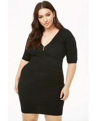 09e5a951f67 Forever 21 - Plus Size Ribbed Zip-front Bodycon Dress - Lyst