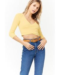 Forever 21 - Surplice Crop Top - Lyst