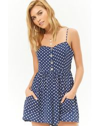Forever 21 - Polka Dot Button-front Romper - Lyst