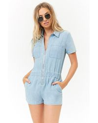 9d6ed689c00 Forever 21 - Chambray Zip-front Romper - Lyst
