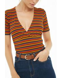 Forever 21 - Striped Surplice Top - Lyst